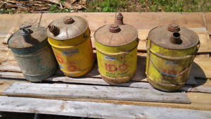 4 Vintage Fuel Can - Irving Oil x3 and 1 older