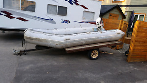 14' Quicksilver Inflatable, 30hp Johnson, Tilt Deck Trailer