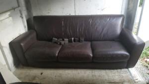 Natuzzi Brown Leather Sofa and Loveseat set
