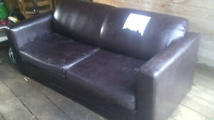 pleather pull out couch