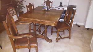 Antique table chairs and Hutch