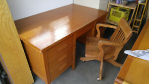 Antique CPR Solid Oak Desk And Matching Chair