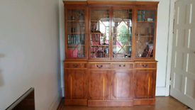 Breakfront repro yew wood bookcase