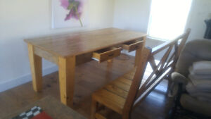 Antique dining table with benches.