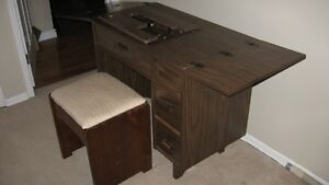 Sewing machine table and stool
