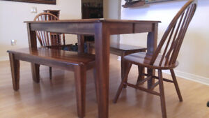 SOLID WOOD DINING TABLE W/ BENCHES & CHAIRS
