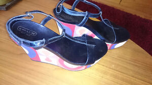 NEW Coach Platform Wedge Metallic Navy Leather Sandals - Size 7