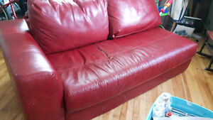 Faux leather Red couch