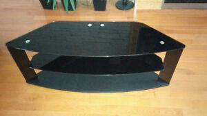 "50"" Corner TV stand with black glass and black aluminum frame"