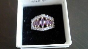 925 silver with diamonds and purple stones ring