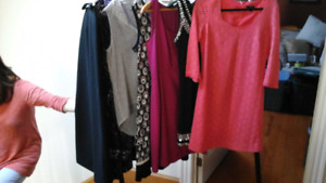 Lot of 5 dresses, 1 long Ribkoff skirt, one soft top - all Small