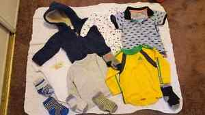 Carter's, H&M, Adidas 6 month baby clothes and coat.