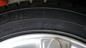 4 Winter tires and rims 205/55/r16 5-108 5-100 bolt Kitchener / Waterloo Kitchener Area image 4