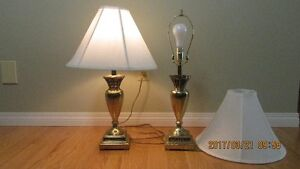 """Matching Pair Solid Brass """"HARRIS"""" Table Lamps"""