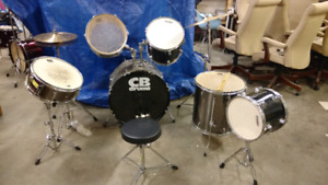 CB and Evans 8 piece drum and percussion set