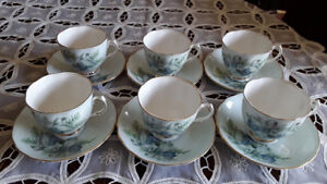 FINE BONE CHINA CUPS, BLUE ORCHIDS COLCLOUGH, ENGLAND