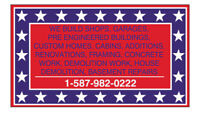 GENERAL CONTRACTING, CONCRETE WORK FRAMING SHOPS, HOUSES GARAGES