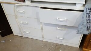 white 6 drawer laminate dresser