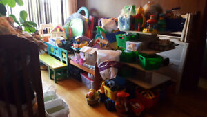 Kids/baby stuff, beds, toys, slides, feeding chairs.