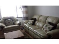 3 Seater white cream Real Leather Sofa with Recliners + Armchair
