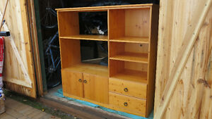 "WALL UNIT, SOLID WOOD, PINE 54""w x 19""d x 52""h"