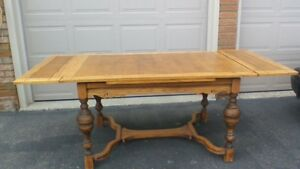 Antique oak table and curio cabinet