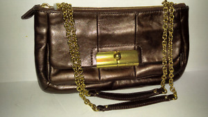 Coach leather handbag w/gold chain and leather handle