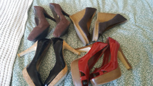 Size 6  3 pairs of heels and 1 pair of wedges $10