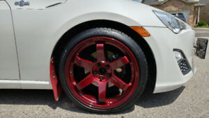 Candy Apple Red Rims and Continental TIres