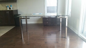 MODERN DINNING TABLE WITH 6 LEATHER CHAIRS- NEVER USED LEAVING T