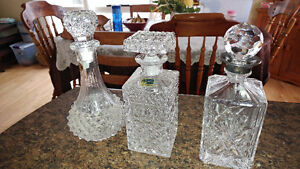 3 large crystal decanters