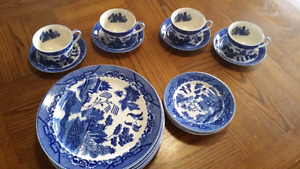 Antique blue willow pattern china