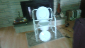 white commode for over existing toilet