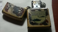 """ZIPPO LIGHTER, """"DESERT STORM"""" WITH POUCH. LIGHTER IS IN GOOD"""