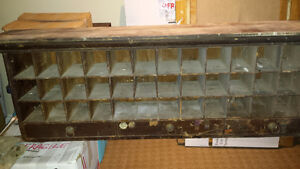 Vintage Mail Sorter with drawers & 1939 stamps
