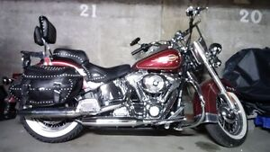 Harley Davidson leather sidebags, double seat, back rest