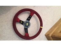 Suede Omp deep dish steering wheel with boss kit for mk4 Golf