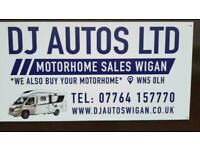 motorhomes wanted ££££ collection today uk coverage contact dj autos wigan today
