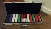 Professional poker set w/clay poker chips