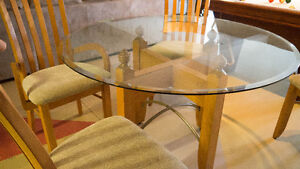 Glass Pedestal Dinning Table and 4 chairs London Ontario image 2