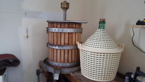 Press and 4 Demijohns/Carboys