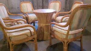 Rattan table and 6 chairs