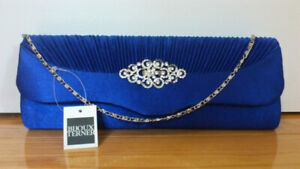 Bijoux Terner evening clutch purse blue