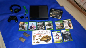 Xbox One 1 TB, accessories and WW2 collectibles.