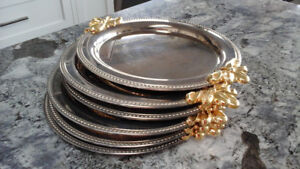SILVER &  GOLD PLATED PLATE CHARGERS.