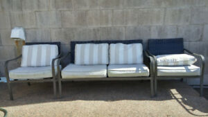 Outdoor Long and Individual Chairs with Pads