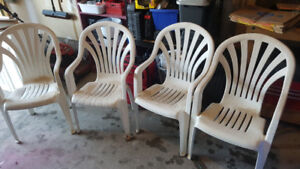 Resin Patio Chairs, 4 for $10.00
