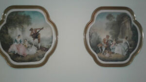Pair of Antique French Watercolors