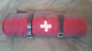 Vintage Swiss army wool blanket