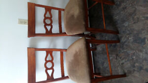 TWO TALL SOLID WOOD KITCHEN CHAIRS